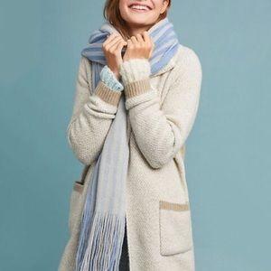 Anthropologie • Cozy Stripe Blanket Scarf Blue